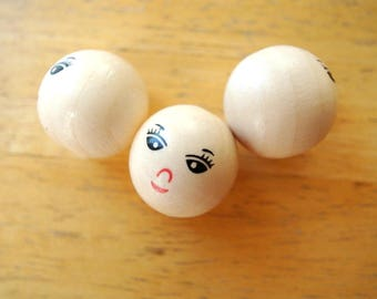 6 wood beads with painted face for creating dolls