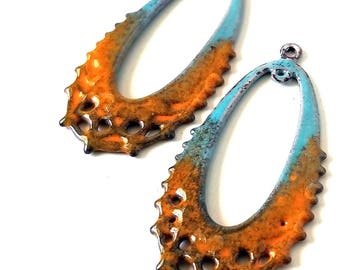 Blue and Orange Enamel Filigree Connector Charms