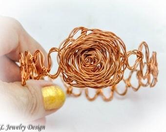 Copper Rose Bangle Bracelet