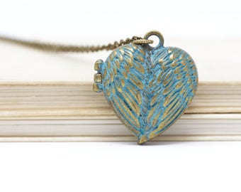 Heart Locket Pendant on Brass Chain For Mom, Wife or Girlfriend