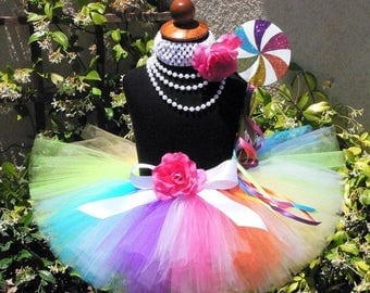 "SUMMER SALE 20% OFF Candyland Dreams - Rainbow Lollipop Tutu - Custom Sewn Tutu - up to 8"" long - sizes newborn up to 5T - Tutu Only"