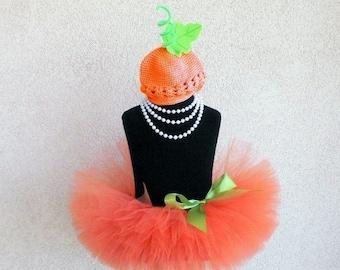 SUMMER SALE 20% OFF Baby Tutu Set - Pumpkin Costume - Ready To Ship - Orange Infant Tutu and Beanie Set - Sewn 6'' Infant or Toddler Tutu an