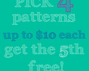 Discount sewing pattern bundle, buy 4 get the 5th free, PDF files