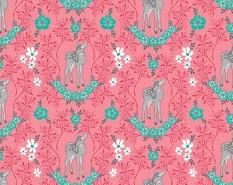 Flora and Fawn by Amanda Herrin for Riley Blake, Flora Deer on Pink, 1 yard