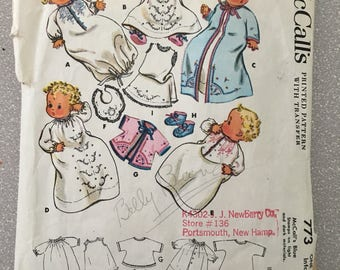Vintage 1950s Infant Baby Layette Pattern McCall's 773 Sewing Nightgown Kimono Bib Dress Saque Bootees