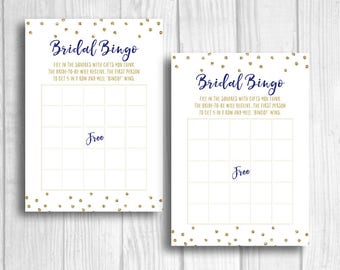 SALE Bridal Shower Bingo 5x7 Printable Bridal Shower Party Game - Navy Blue and Gold Glitter Polka Dots - Instant Download