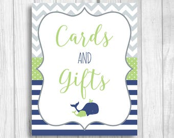 Cards and Gifts Printable 5x7, 8x10 Boy's Whales Baby Shower Sign - Navy Blue, Green, Gray - Instant Download