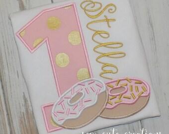 Doughnut birthday shirt, Donut Birthday shirt, Doughnut shirt, Donut birthday outfit, 1st birthday, 2nd Birthday, Sew Cute Creations