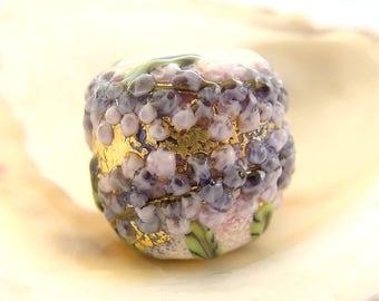 1 Golden Floral Handmade Lampwork Bead