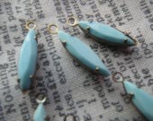 Opaque Pale Turquoise Faceted 15x4mm Vintage Glass Navette Earring Drops 6 Pcs