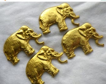 SALE 20% Off Brass Elephant Stampings 35x24mm 4