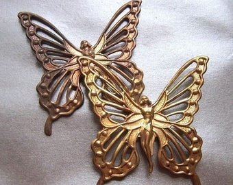 SALE 20% Off Butterfly Fairy Dapped Antiqued Pierced Stamping 7cm or 3 inches 2 Pcs