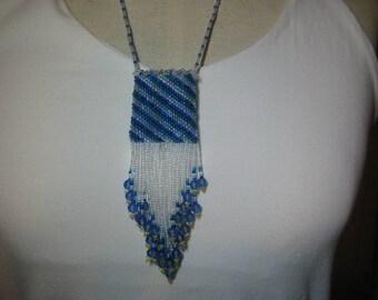 Medicine Bag Necklace beaded in blue. Amulet Bag, Wish Bag, Treasure Bag
