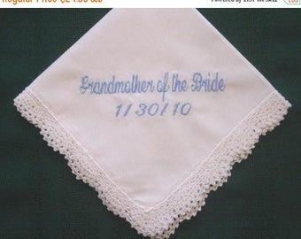 ON SALE Grandmother Personalized Wedding Handkerchief hankie, hanky 185S embroidered hankie,wedding handkerchief,hanky