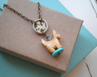 Vintage Wood Dog & Upcycled Button Charm Necklace - Vintage Carved Wooden Yorkie Bead Pendant - Retro Animal Totem Dog Lover Jewelry Gift