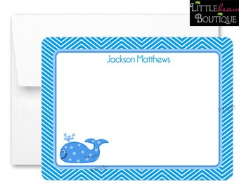 Whale Notecards, Preppy Whale, Flat notecards, Chevron Notecards,  Boys, Thank you Notes, childrens stationary