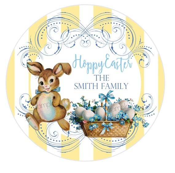 Boys easter stickerseaster bunny stickerseaster labelsgift il570xn negle Images