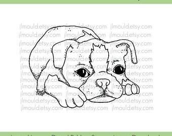 Digital Rubber Stamp Limited Edition Instant Download JessicaLynnOriginal Boston Terrier Dog Stamp Limited License Card Making Scrapbooking