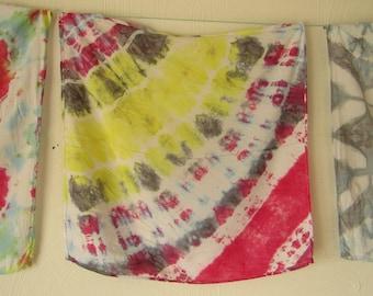 Shibori, Viscose Rayon, Red, Gray, White and Yellow Scarf