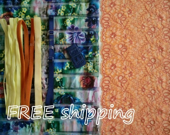 FREE Ship DIY Fabric + Notions Sheer Flowered Stripes & Orange for 1 BRA + Panty by Merckwaerdigh
