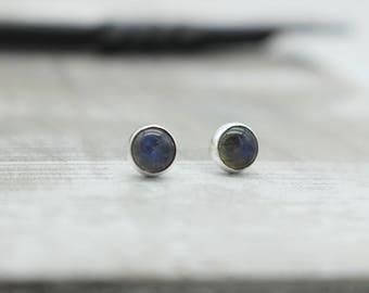 Blue Labradorite Sterling Silver 6mm stud earrings