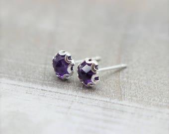 Amethyst Faceted Stud Earrings - February Birthstone Earrings - Gemstone Earrings - Stud Earrings
