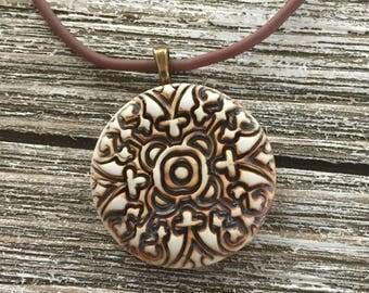 Ornately Textured Porcelain Pendant 1