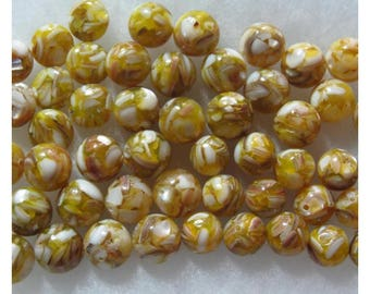 Mother of Pearl Shell and Resin Beads Yellow Beads 12mm 14mm 52 Round and Coin Beads
