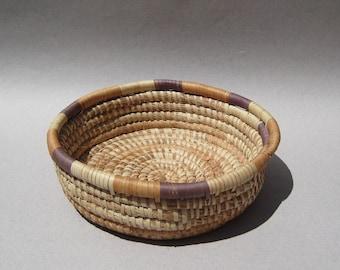Hand Woven Coil Basket Decorative Woven Bowl Vintage Boho Decor Coil Wall Basket Bread Basket