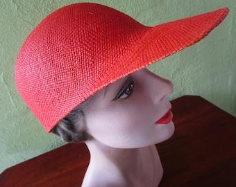 Loro Piana Italy Visor Cap Burnt Orange Sisal Straw Hat Sun