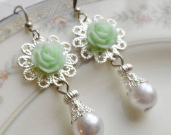 75% Off Price Sale, Mint Green Rose, Silver Filigree, Faux Vintage Pearl Bead