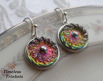 Czech Art Glass Button Earrings, Made from Vintage Molds, Swirl Design, Pink, Green, Yellow Iridescent and Silver Coating