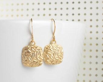 Matte Gold Square Earrings, Gold Earrings, Small Drop Earrings, Small Hammered Gold Earrings