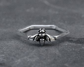Bee Ring Sterling Silver Hexagon Honey Comb Stacking Ring Melissae Goddess Jewelry Geometric Minimalist Spring Garden Stackable Talisman