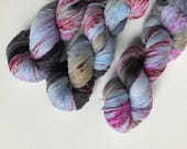 Hand-dyed yarn, Indie dyed yarn, hand dyed yarn BETTE vs JOAN --dyed to order-- Times Square sock weight merino/nylon yarn