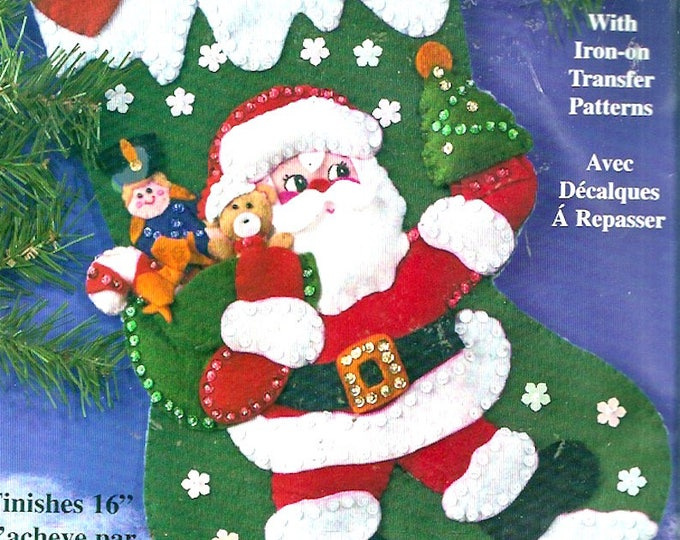 Christmas Santa Stocking kit Design Works Crafts 5014 Holiday St Nick Xmas Childrens decor Unused