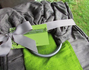 Double Layer Silk Sling, Ring Sling Baby Carrier, Apple Green, Charcoal 100% Dupioni silk, Gathered, supportive newborn to toddler, cool