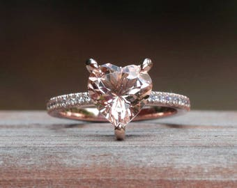 """Morganite Engagement Ring - 9mm Heart Solitaire """"Beverly"""" Ring with Genuine Diamonds - by Laurie Sarah - LS5066"""