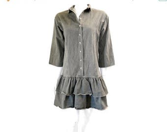 Summer Sale Vintage Grey Denim Dress Ruffle Mini Dress// 80s Cotton Jeans Mini Dress// Grey Cotton Denim Mini Dress// 132