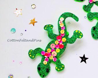 handmade Glitter Ghecko Lizard hair clip, Glitter and Felt hair clip, Lizard Barrette, ghecko hair slides Singles or Pairs