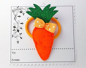 Carrot hair Clip or hair tie, Handmade Felt padded Carrot hair clip, carrot bobble, carrots hair elastic, ponytail holders, pigtails