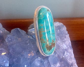 Turquoise Ring, Large Ring, Oval, Sterling Silver Ring, Arizona Turquoise, Statement Ring, Solitaire Ring, Size 10 Ring, Gemstone Ring, Boho