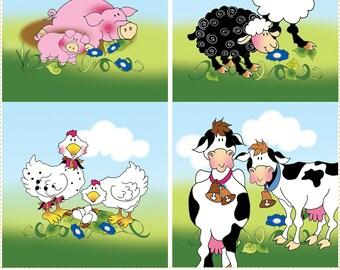 "Farm Animals - 5"" square with 2"" x 10"" Ivy Strip"