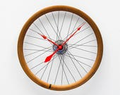 Bike Wheel Clock, Large Wall Clock, Cyclist Gift, Unique Wedding Gift, Steampunk Decor, Bicycle Wall Clock, Modern Wall Clock, copper