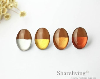 Handmade Silver, Gold, Rose Gold, Copper Foil & Brown Oval Glass Dome , 13x18mm 18x25mm Foil Glass Cabochons - GCF313