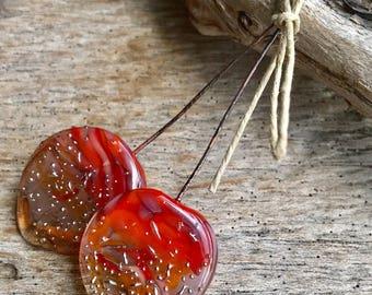 LARGE ORGANIC PETAL Headpins - Handmade Lampwork Glass Headpins - 2 Headpins - Earring Pair
