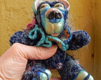 Dog Days of Summer OOAK Artist Bear-BlueBerry-Crochet Thread and Clay Bear-Carla Smale