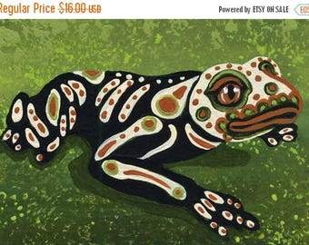 Dog Days of Summer ACEO ATC Original Gouache Painting Sugar Skull Frog Day of the Dead Art-Carla Smale