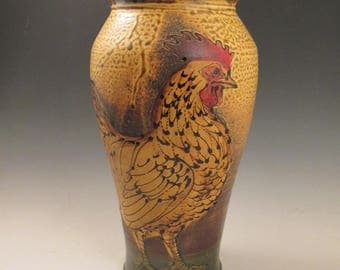 Vase with slip trailed Rooster