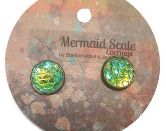 Mermaid Scale Earrings - Aqua/Green